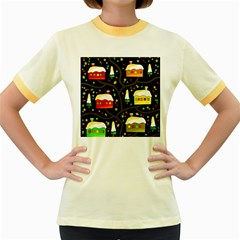Winter  night  Women s Fitted Ringer T-Shirts