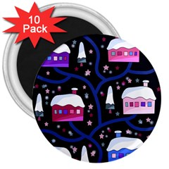 Magical Xmas night 3  Magnets (10 pack)