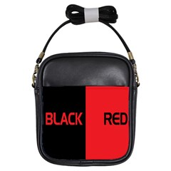 Black Red Splitting Typography Girls Sling Bags