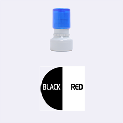 Black Red Splitting Typography Rubber Round Stamps (small)