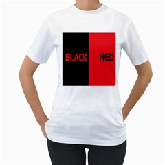 Black Red Splitting Typography Women s T Shirt (white)