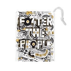 Foster The People Creative Typography Drawstring Pouches (large)