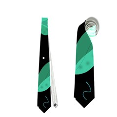 Blue and green flowers  Neckties (One Side)