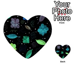 Blue and green flowers  Multi-purpose Cards (Heart)