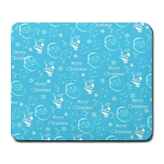 Santa Christmas Collage Blue Background Large Mousepads