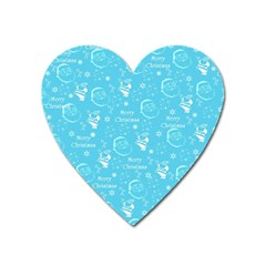 Santa Christmas Collage Blue Background Heart Magnet