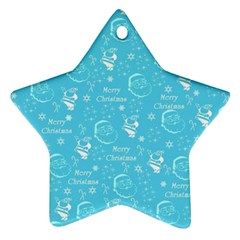 Santa Christmas Collage Blue Background Star Ornament (two Sides)