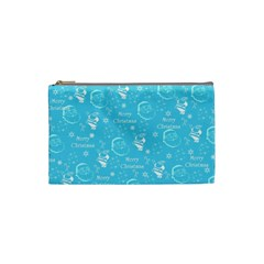Santa Christmas Collage Blue Background Cosmetic Bag (small)