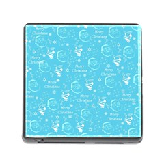 Santa Christmas Collage Blue Background Memory Card Reader (square)