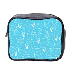 Santa Christmas Collage Blue Background Mini Toiletries Bag 2 Side