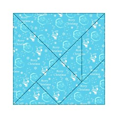 Santa Christmas Collage Blue Background Acrylic Tangram Puzzle (6  X 6 )