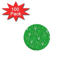 Santa Christmas Collage Green Background 1  Mini Buttons (100 Pack)