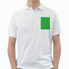 Santa Christmas Collage Green Background Golf Shirts