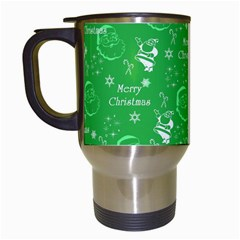 Santa Christmas Collage Green Background Travel Mugs (white)