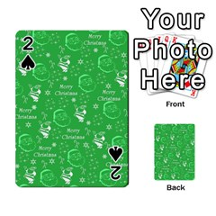Santa Christmas Collage Green Background Playing Cards 54 Designs