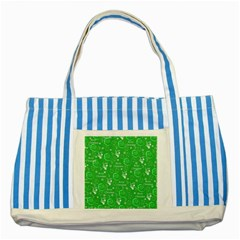 Santa Christmas Collage Green Background Striped Blue Tote Bag