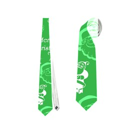 Santa Christmas Collage Green Background Neckties (One Side)