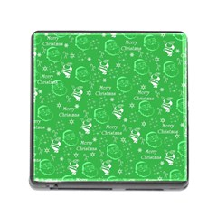 Santa Christmas Collage Green Background Memory Card Reader (square)