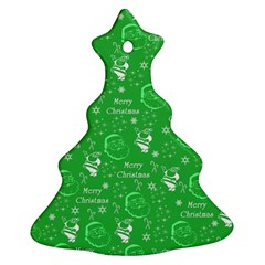 Santa Christmas Collage Green Background Ornament (christmas Tree)