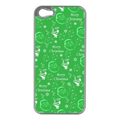 Santa Christmas Collage Green Background Apple Iphone 5 Case (silver)
