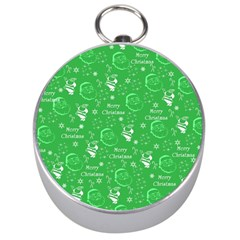 Santa Christmas Collage Green Background Silver Compasses