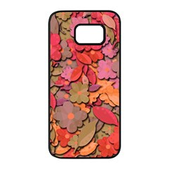 Beautiful Floral Design Samsung Galaxy S7 Edge Black Seamless Case