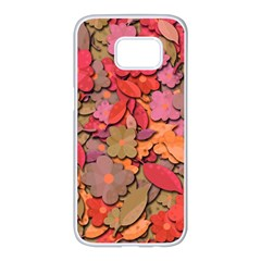 Beautiful floral design Samsung Galaxy S7 edge White Seamless Case