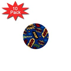 Fabric Comic Words 1  Mini Buttons (10 Pack)