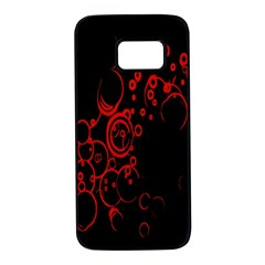 Abstraction Textures Black Red Colors Circles Samsung Galaxy S7 Black Seamless Case