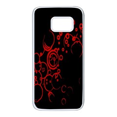 Abstraction Textures Black Red Colors Circles Samsung Galaxy S7 White Seamless Case