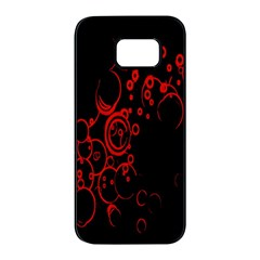 Abstraction Textures Black Red Colors Circles Samsung Galaxy S7 Edge Black Seamless Case