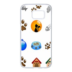 Cat Mouse Dog Samsung Galaxy S7 edge White Seamless Case