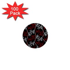 Elegant Red And White Pattern 1  Mini Magnets (100 Pack)