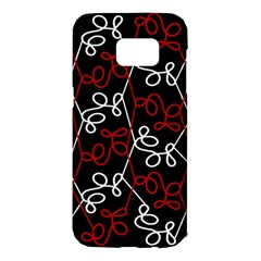Elegant red and white pattern Samsung Galaxy S7 Edge Hardshell Case