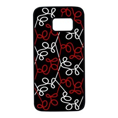 Elegant Red And White Pattern Samsung Galaxy S7 Black Seamless Case