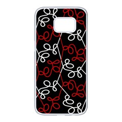 Elegant red and white pattern Samsung Galaxy S7 edge White Seamless Case