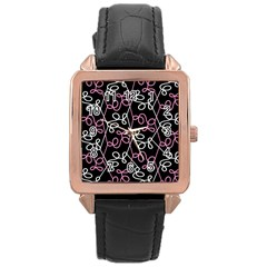 Elegance   Pink Rose Gold Leather Watch
