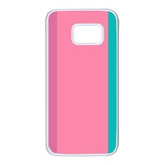 Pink Blue Three Color Samsung Galaxy S7 White Seamless Case