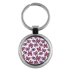 Pink Purple Butterfly Key Chains (round)