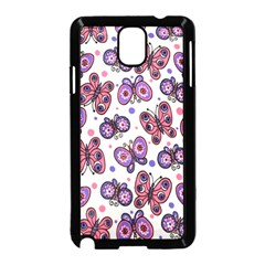 Pink Purple Butterfly Samsung Galaxy Note 3 Neo Hardshell Case (black)