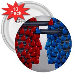 Red Boxing Gloves And A Competing 3  Buttons (10 pack)