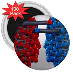 Red Boxing Gloves And A Competing 3  Magnets (100 pack)
