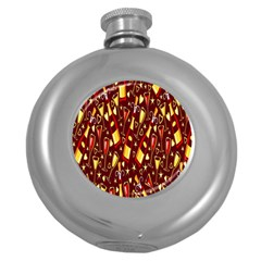 Wine Glass Drink Party Round Hip Flask (5 oz)