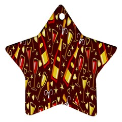 Wine Glass Drink Party Star Ornament (Two Sides)