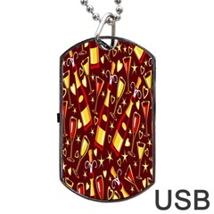 Wine Glass Drink Party Dog Tag USB Flash (One Side)