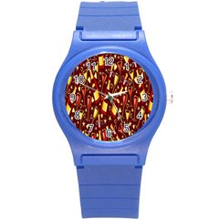Wine Glass Drink Party Round Plastic Sport Watch (S)