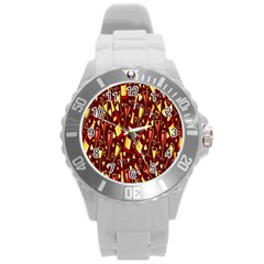 Wine Glass Drink Party Round Plastic Sport Watch (L)
