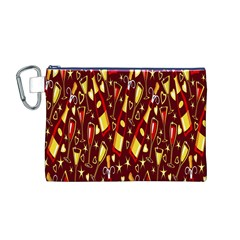Wine Glass Drink Party Canvas Cosmetic Bag (M)