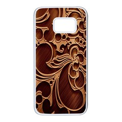 Tekstura Twigs Chocolate Color Samsung Galaxy S7 White Seamless Case