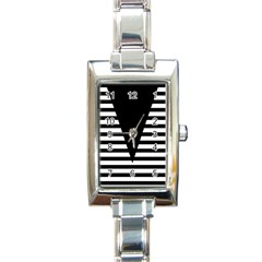 Black & White Stripes Big Triangle Rectangle Italian Charm Watch